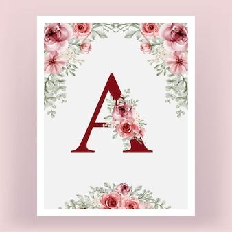 Monogram Ozdobny Vintage Alfabet Floral Premium Wektorów