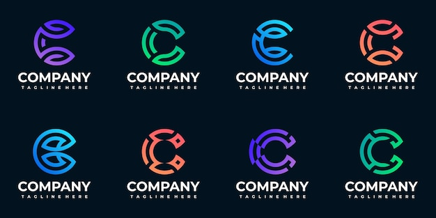 Monogram początkowa kolekcja logo c