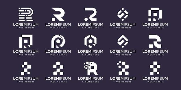 Monogram początkowa litera r rr logo szablon ikony dla biznesu technologii mody cyfrowej