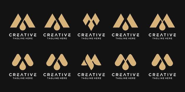 Monogram początkowy m ikona logo zestaw projekt dla biznesu mody sport luksus
