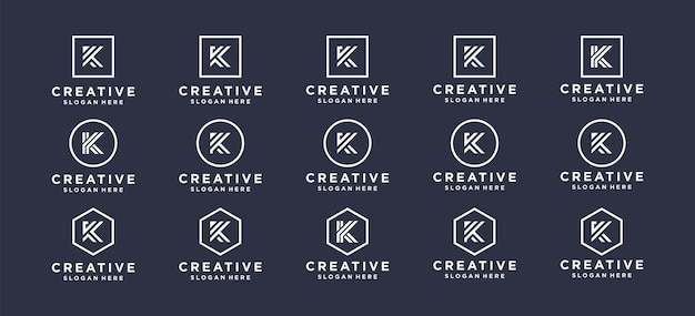 Monogram projekt logo litery k dla marki osobistej, korporacji, firmy.