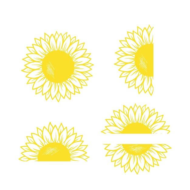 Monogram słonecznika wektor i clipart