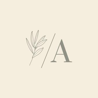 Monogram ślubny i logo z gałązką oliwną w stylu nowoczesnego minimalnego liniowej. wektor kwiatowy szablon dla zaproszeń, zapisz datę. ilustracja botaniczna rustykalna