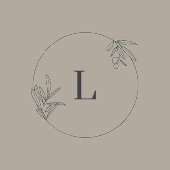 Monogram ślubny i logo z gałązką oliwną w stylu nowoczesnego minimalnego liniowej. wektor okrągła ramka kwiatowy z literą l dla zaproszeń, zapisz datę. ilustracja botaniczna rustykalna