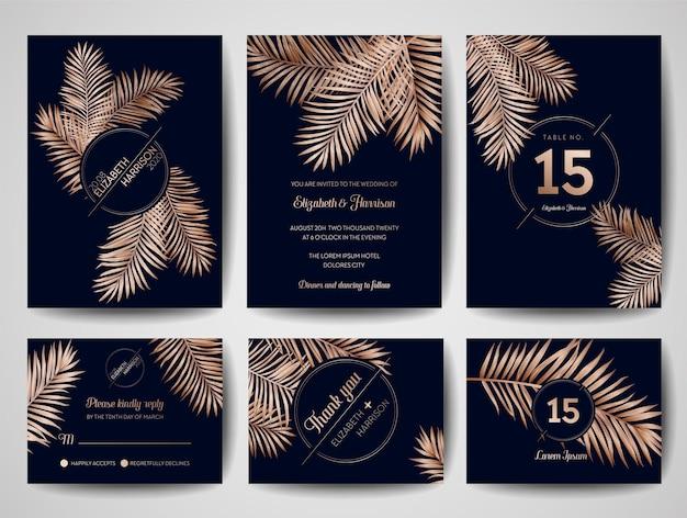 Monogram ślubny tropikalne liście palmowe zaproszenie, zapisz szablon karty data ze złotą folią. luksusowy układ rsvp. ilustracja wektorowa