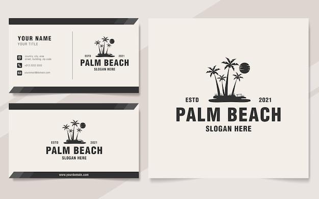 Monogram szablon logo plaży palmowych w stylu vintage