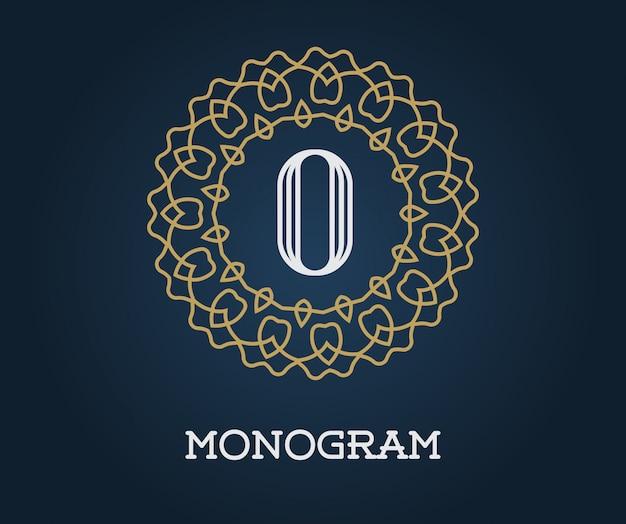 Monogram szablon z ilustracji list premium eleganckiej jakości złoto na granatowym kolorze