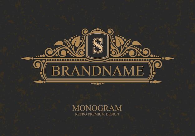 Monogram typograficzne logo marki szablon z ozdobami kaligraficznych eleganckich elementów ozdobnych., butik, kawiarnia, hotel, heraldyczne