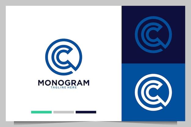 Monogram z nowoczesnym logo litery c