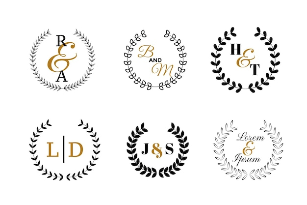 Monogramy ślubne lub zestaw logotypów