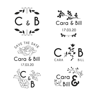 Monogramy ślubne w stylu kwiatowym