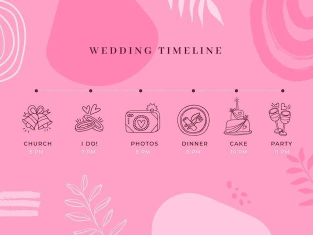 Monokolorowa oś czasu ślubu