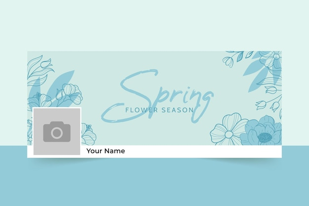 Monokolorowa wiosenna okładka na facebooka w kwiatowy wzór
