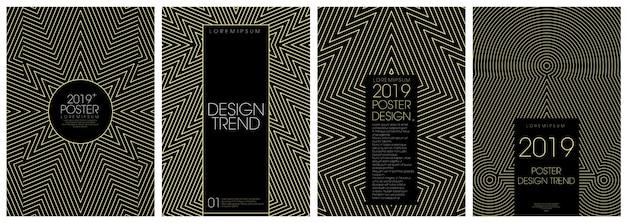 Monoline cover design w złotym kolorze