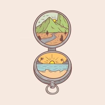 Monoline kompas krajobraz ilustracja na zewnątrz
