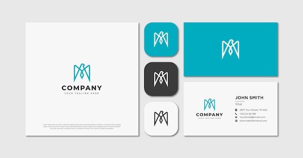 Monoline orzeł litera m logo i wizytówka