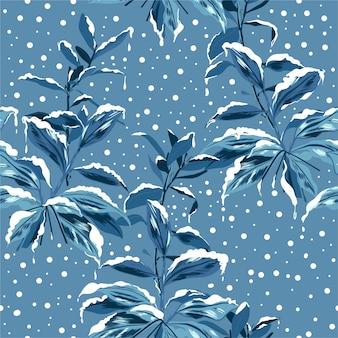 Monotone niebieskie botaniczne palnty z bezszwowym wzorem zimowego nastroju w śniegu, projektowanie mody, tkaniny, tapety, zawijanie i wszystkie nadruki