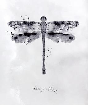 Monotypowy dragonfly rysunek z czarny i biały na papierowym tle
