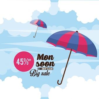 Monsoon duża ikona sprzedaży i rabatów
