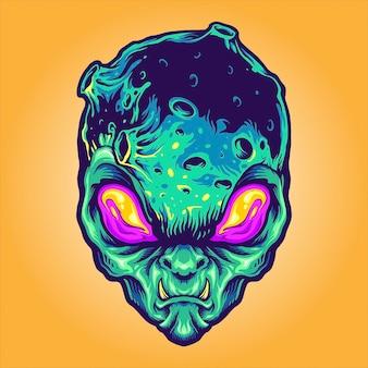Monster alien galaxy ilustracje wektorowe do pracy logo, koszulka z towarem maskotka, naklejki i projekty etykiet, plakat, kartki okolicznościowe reklamujące firmę lub marki.