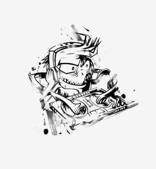Monster dj broda miksujący muzykę na gramofonach. naklejki ilustracji wektorowych.