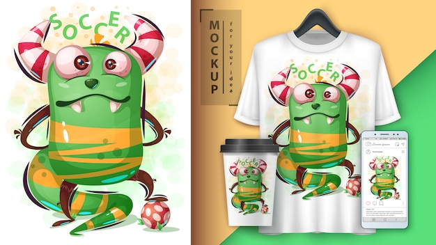 Monster gra w piłkę nożną i merchandising