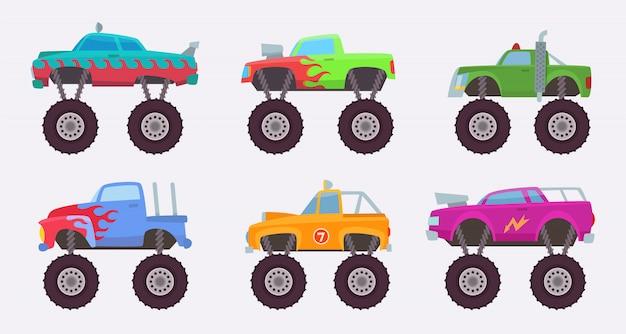 Monster truck. duże koła strasznej samochodowej zabawki dla dzieci s