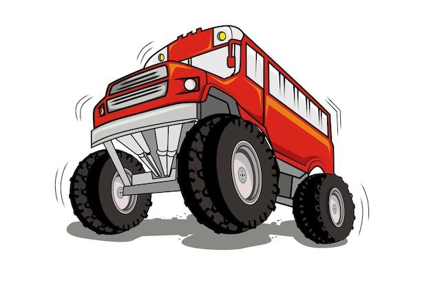 Monster truck kreskówka pojazd lub samochód i ekstremalna ilustracja transportu pokazowego