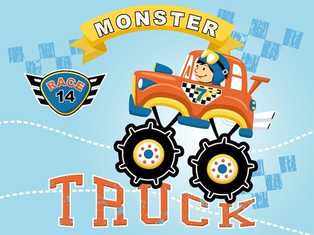 Monster truck wyścigu kreskówka z małym racer
