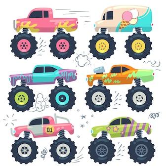Monster trucki. zabawki samochodowe dla dzieci. zestaw kreskówka