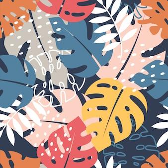 Monstera pozostawia szwu. kolorowy projekt tropikalny.