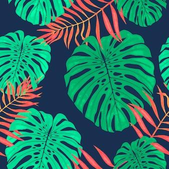 Monstera pozostawia wzór. tropikalna ilustracja botaniczna.