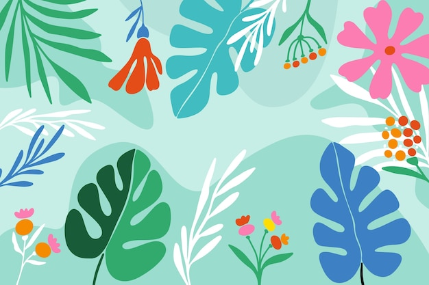 Monstera roślina opuszcza kwiecistego tło