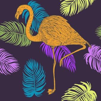 Monstera z wzorem flamingo ręcznie