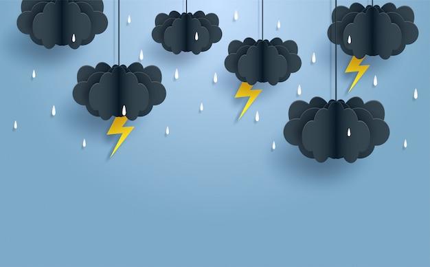 Monsun, pora deszczowa tło. chmura deszcz i piorun wisi na niebieskim niebie. styl sztuki papierowej.