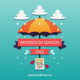 Monsunowy sezon sprzedaży tło w mieszkanie stylu