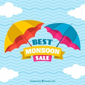 Monsunowy sezon tło z deszczem i parasolami