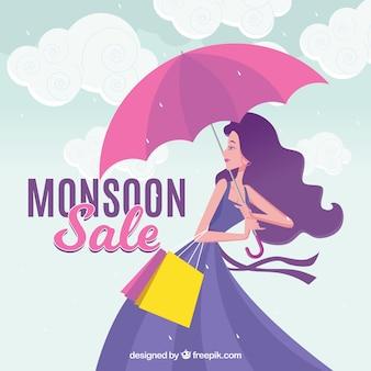 Monsunu sezonu sprzedaży tło z dziewczyną i parasolem