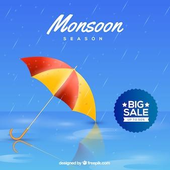 Monsunu sezonu sprzedaży tło z kolorowym parasolem