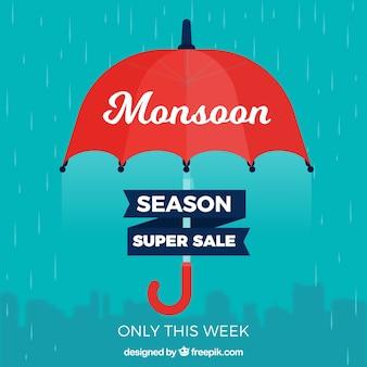 Monsunu sezonu sprzedaży tło z parasolem