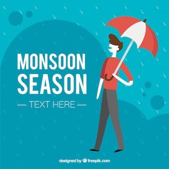 Monsunu sezonu tło z chłopiec