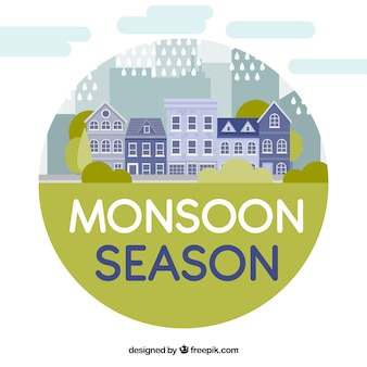 Monsunu sezonu tło z domami