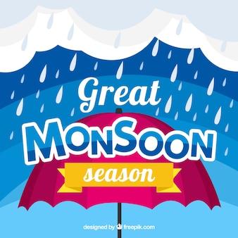Monsunu sezonu tło z parasolami