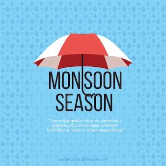 Monsunu sezonu tło z parasolem