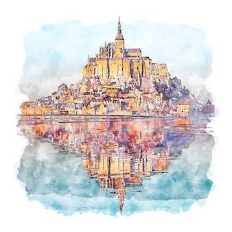 Mont saint michel francja szkic akwarela ręcznie rysowane ilustracji