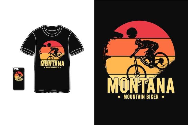 Montana mountain biker, t-shirt merchandise sylwetka typografia