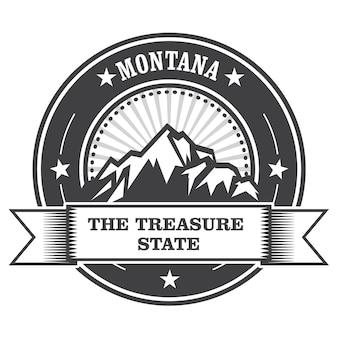 Montana mountains - treasure state stamp label
