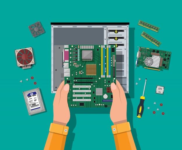 Montaż komputera. sprzęt do komputerów osobistych.
