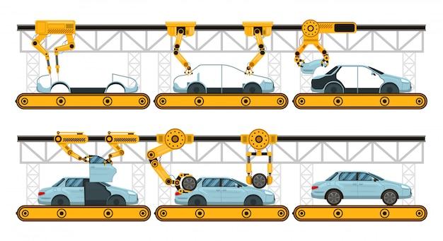 Montaż samochodów. fabryczny przenośnik do montażu samochodów, produkcja ramion robotów motoryzacja, zestaw ilustracji procesu automatyki przemysłowej. automatyczny przenośnik robota, proces montażu ramienia