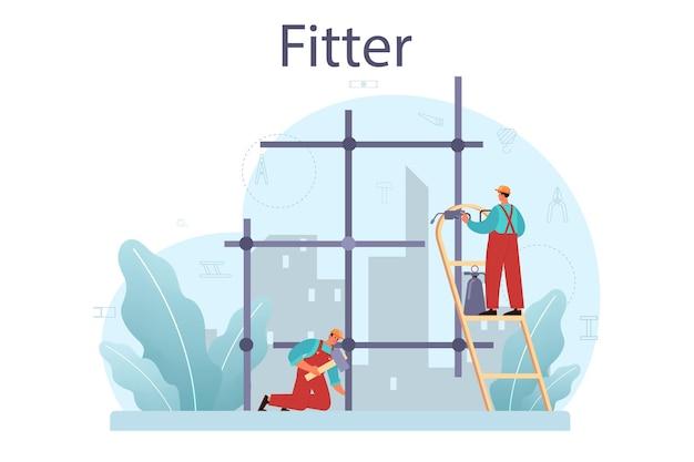 Monter lub instalator. konstruktor przemysłowy na placu budowy. profesjonalni pracownicy budujący dom z narzędzi i materiałów. rozwój miasta.